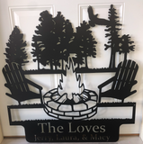 campfire lake scene custom sign