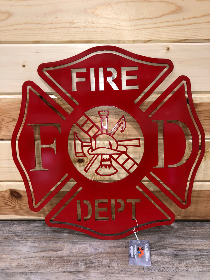 Red Fire Department Cross Metal Art - Cut'N Creations