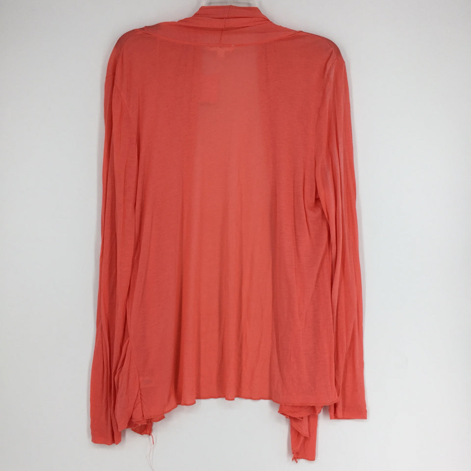 Size 2X Coral Solid Plus Cardigan