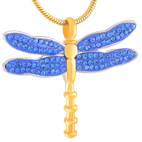 blue dragonfly | Urn Necklace | Ashes Necklace | Cremation Jewelry