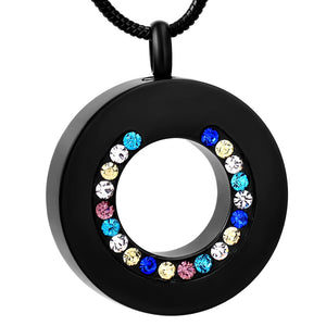 black circle | Urn Necklace | Ashes Necklace | Cremation Jewelry