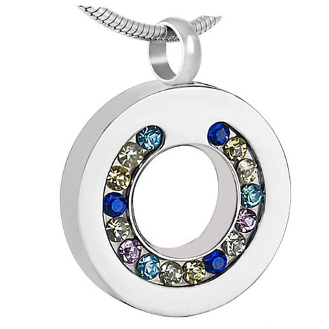 sparkling elegant circle | Urn Necklace | Ashes Necklace | Cremation Jewelry