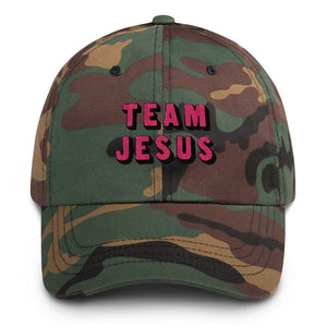 Team Jesus Camouflage Hat Embroidered Pink