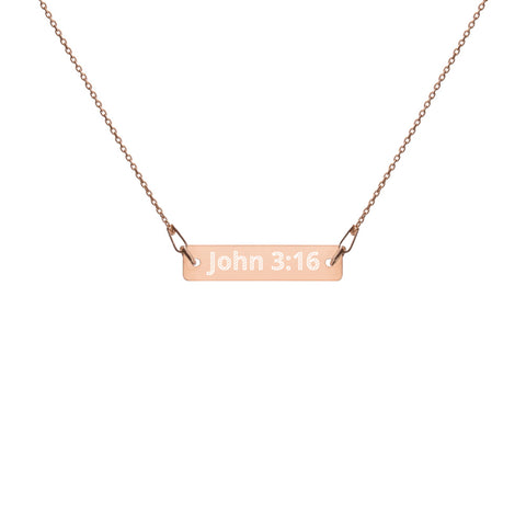 John 3:16 18k Rose Gold Coated Silver Necklace