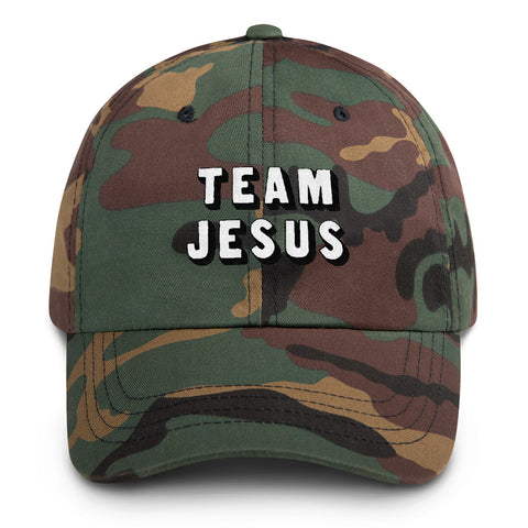 Team Jesus Camouflage Hat Embroidered White