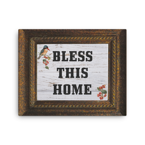 Bless This Home, Farmhouse Style 16x20 Inch Canvas Print | Christian Wall Art