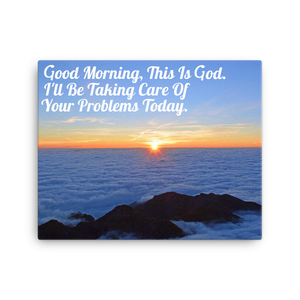 Good Morning, Sunrise Over Clouds 16x20 Inch Canvas Print | Christian Wall Art