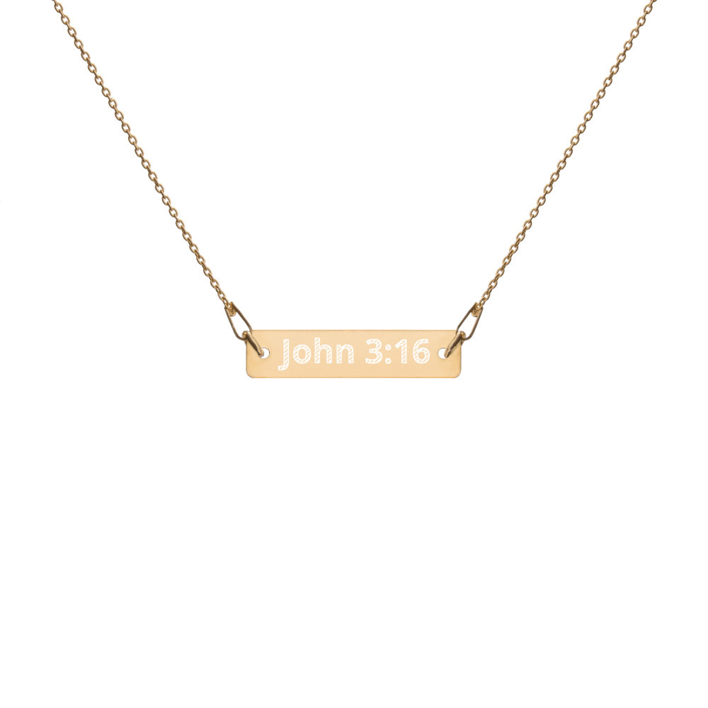 John 3:16 24k Gold Coated Silver Necklace | Christian Jewelry