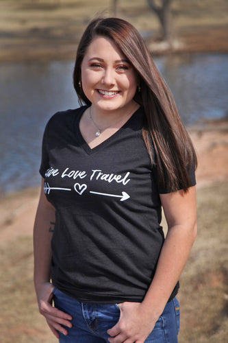 Official Live Love Travel Women's V-Neck Tee