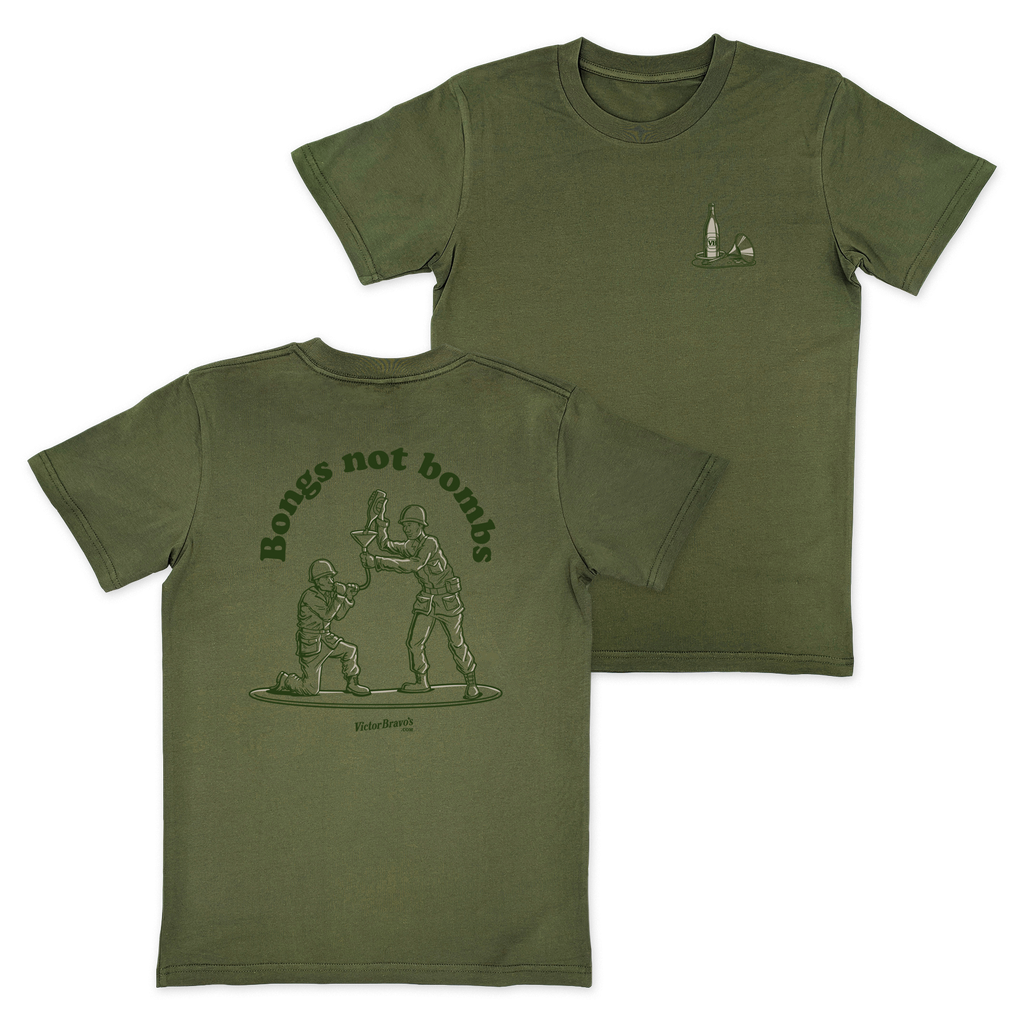 Bongs Not Bombs T-Shirt Army Green