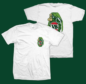 VB Green Grenade T-Shirt White High quality front and back print