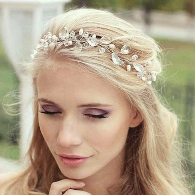 Pearl and rhinestone wreath head band