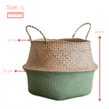 Straw flower basket - Green (3 sizes available)