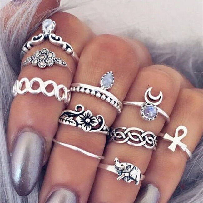 Silver Elephant and Moon midi ring set