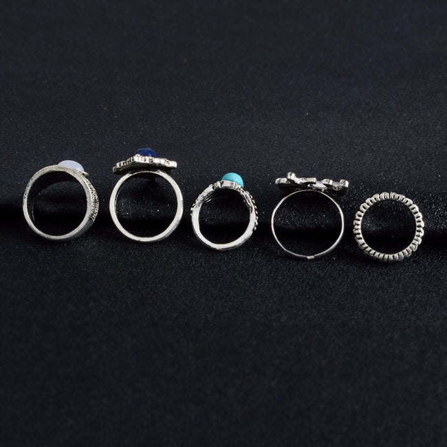 Elephant gemstone ring set