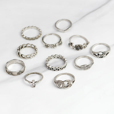 Silver Sky and Earth midi ring set