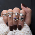 Silver Lotus Flower gemstone midi ring set