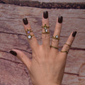 Golden Lotus Flower gemstone midi ring set