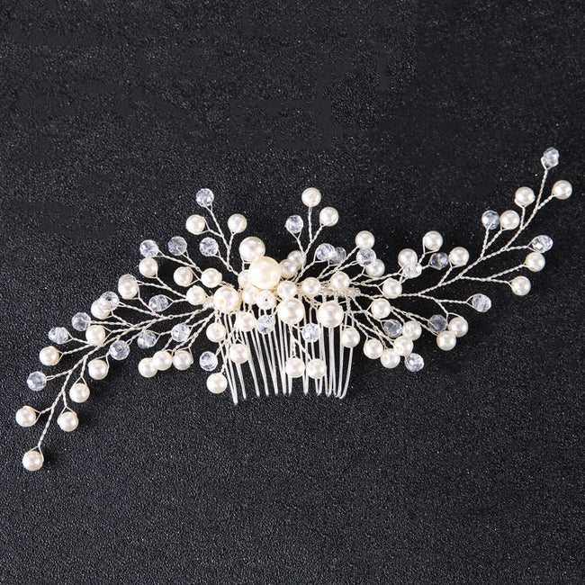 Pearl and rhinestone hair comb clip
