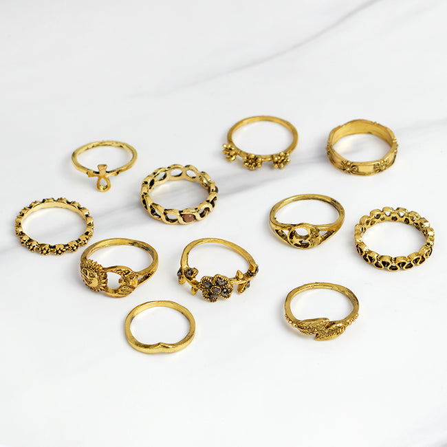 Gold Sky and Earth midi ring set