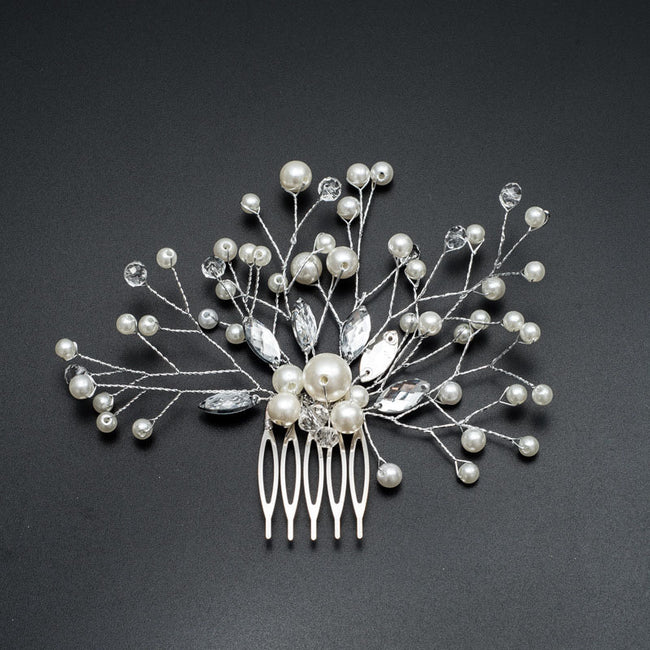 Pearl and rhinestone branch comb clip