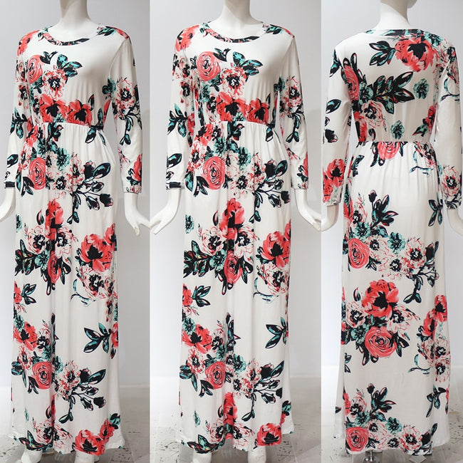 White Floral Mid Sleeve Maxi Dress
