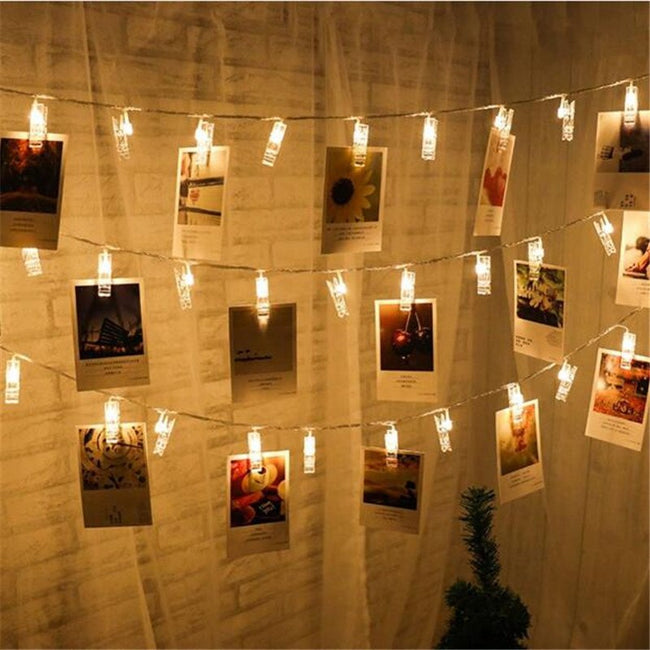 Photo clip fairy lights (warm white, 10 LEDs, battery-operated)