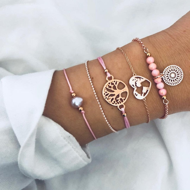 Spring tree of life bracelet bundle (pink)