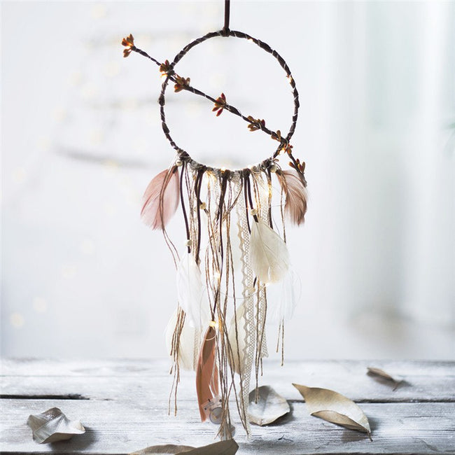 Flower and feathers fairy light dream catcher (brown)