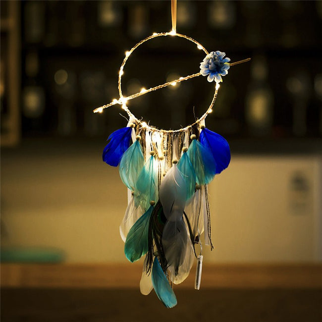 Flower and feathers fairy light dream catcher (blue)