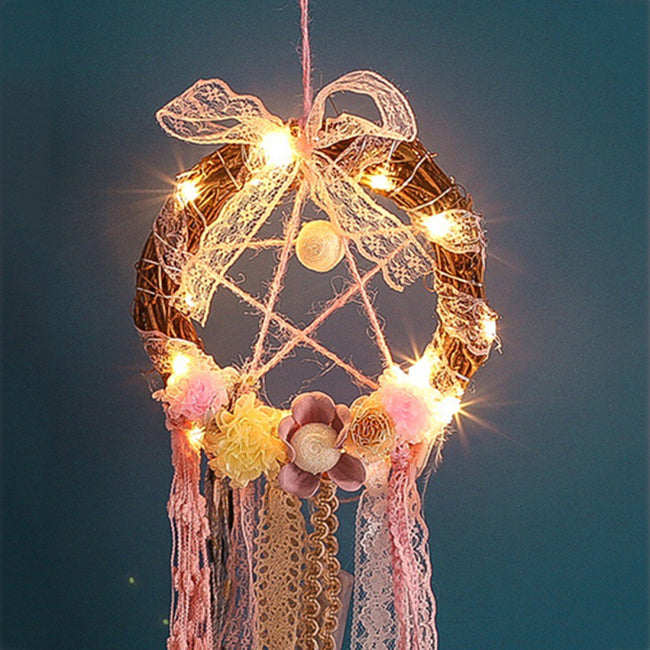 Treehouse lace fairy light dream catcher