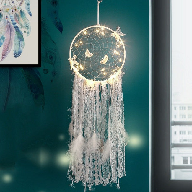 Butterflies and lace fairy light dream catcher