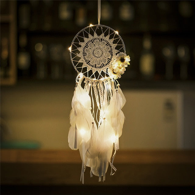 White flowers and lace fairy light dream catcher