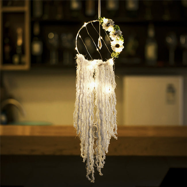 Flowers and crystal fairy light dream catcher