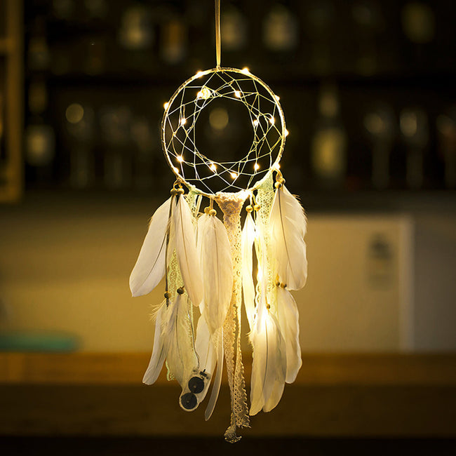 White feather fairy light dream catcher