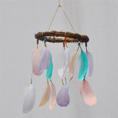 Horizontal treehouse fairy light dream catcher