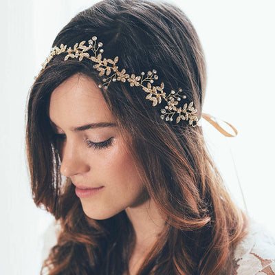 Golden flower and rhinestone wreath ribbon hair band