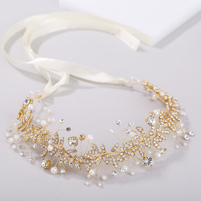 Golden pearl and rhinestone wreath ribbon hair band