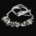 Flower and rhinestone branch ribbon hair band