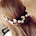 Golden leaf and flower hair band and earrings set