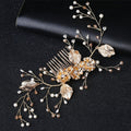 Flower blossom and pearl hair comb clip