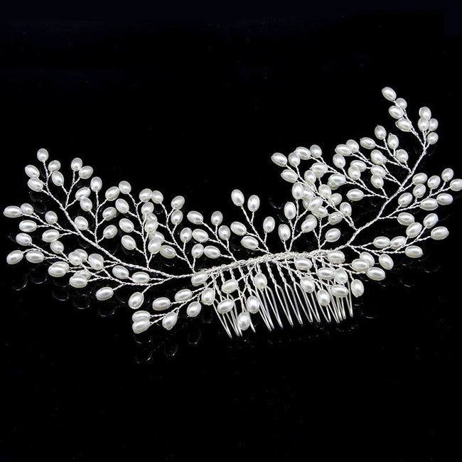 Pearl blossom hair comb clip