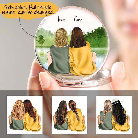 Customized Pocket Mirror 2 Sisters-Friends