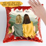 Customize Sequins Pillow Cases For 2 Sisters -Friends