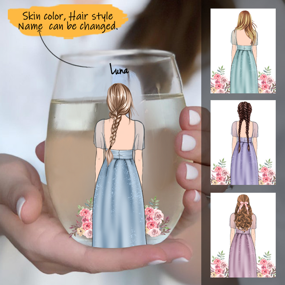 Customize Glass Cup  Bridesmaid -Wedding