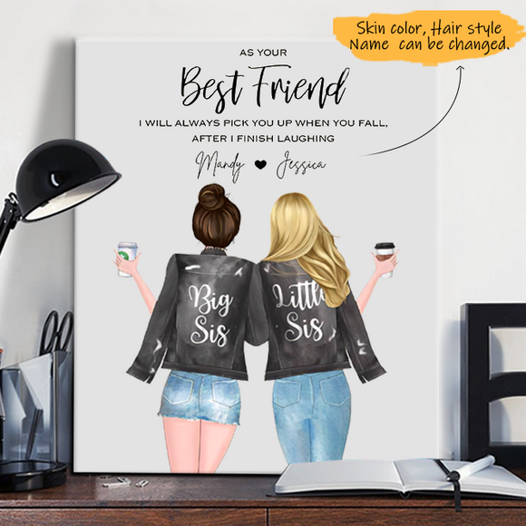 Customize Canvas-Print Gift 2 Sisters Leather Jacket -Friends