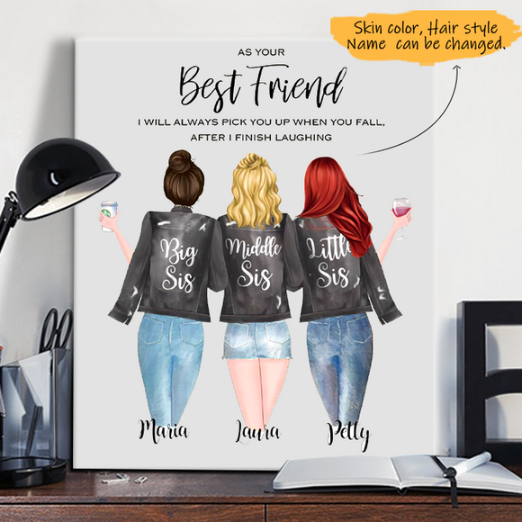 Customize Canvas-Print Gift 3 Sisters Leather Jacket -Friends