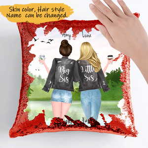 Customize Sequins Pillow Cases For 2 Sisters Black Jacket  -Friends