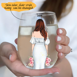 Customize Glass Cup Bride -Wedding