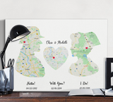 Love Map Customize Canvas Print Gift for Your Friend